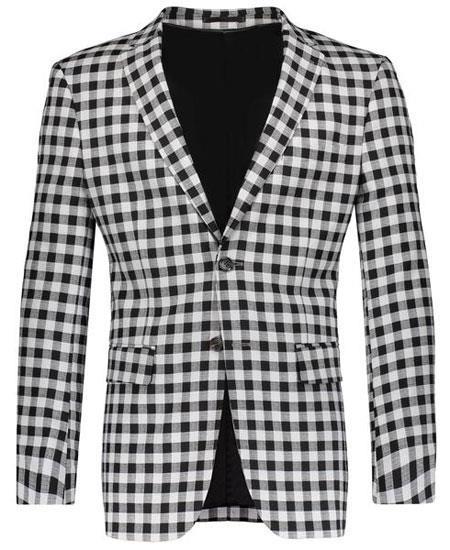 Buy GD1795 Gray ~ Black Slim Fit Navy Plaid ~ Windowpane ~ Checker Mens Blazer