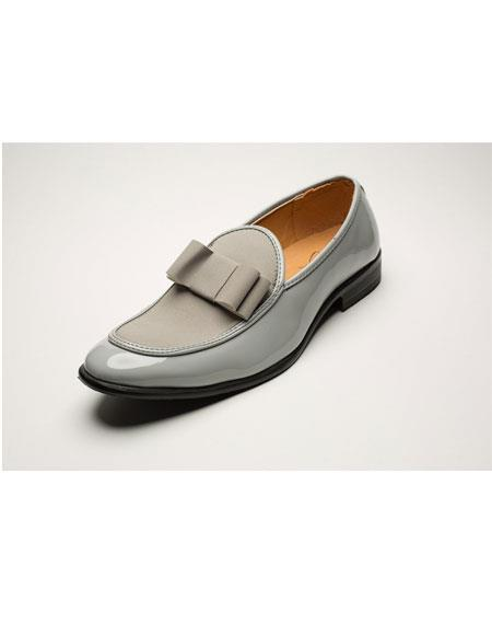 SKU#GD1086 Men's Fashionable Gray Loafers Bow Tie Tuxedo Shoes