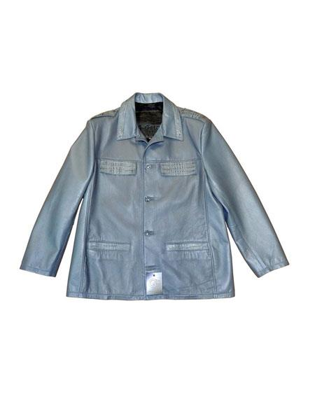 SKU#AP612 G-Gator - 2008 Gray Buttons Closure Lambskin/Crocodile Jacket