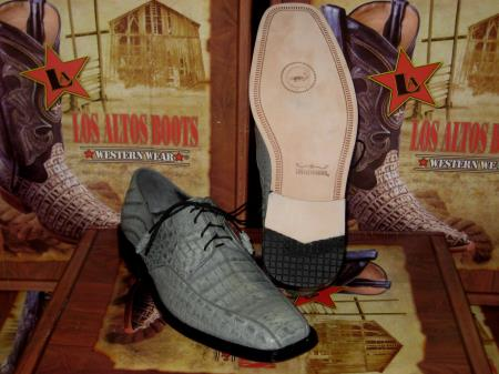 Mens Genuine Authentic Gray caiman ~ World Best Alligator ~ Gator Skin Crocodile ~ World Best Alligator ~ Gator Skin Dress Shoe