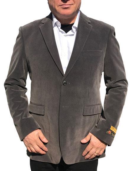 Alberto Nardoni Brand Gray ~ Charcoal Grey Velvet Men's blazer Jacket Available Big Sizes