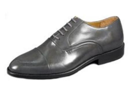 SKU# : 65537 Gray Classic folded captoe bal oxford in hand brushed nappa, Leather sole