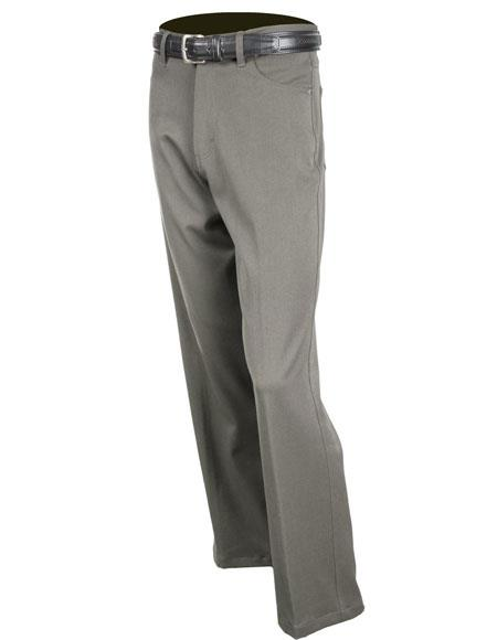 Mens Gray Solid Pattern Stretch Jean Flat Front Dress Pants unhemmed unfinished bottom