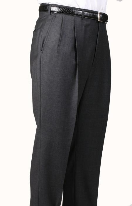 SKU#LA7077 Gray, Parker, Pleated Pants Lined Trousers