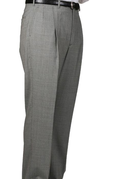 Black/tweed houndstooth checkered pattern Somerset Pleated Trouser unhemmed unfinished bottom