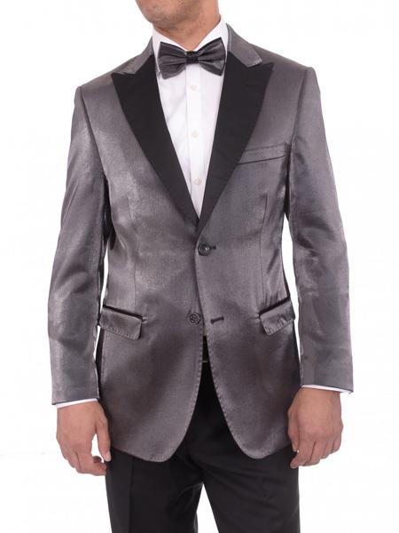 Mens Gray Satin Blue 2 Button Slim Fit Blazer Sportcoat