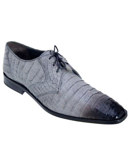 Men's Gray Genuine Crocodile Los Altos Oxfords Style Dress Shoes