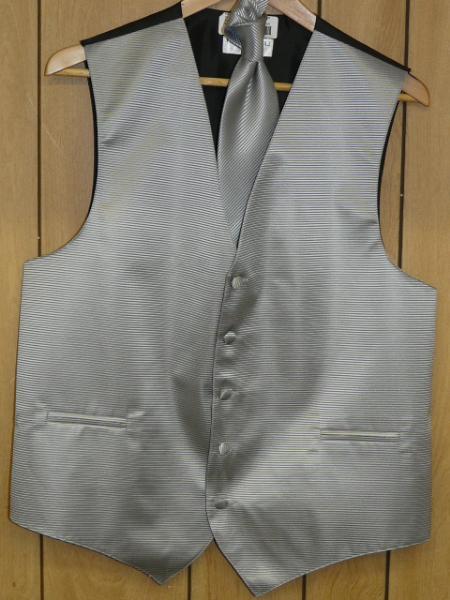 gray Groomsmen Dress Tuxedo Wedding Vest ~ Waistcoat ~ Waist coat  & Tie set Buy 10 of same color Tie For $25 Each