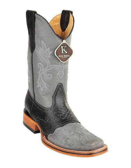 b3edd580e21 Men's King Exotic Square Toe Genuine Elephant Gray Skin Boots Handcrafted