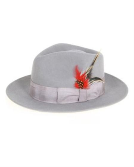 SKU#GR9232 Mens Gray Fedora Hat