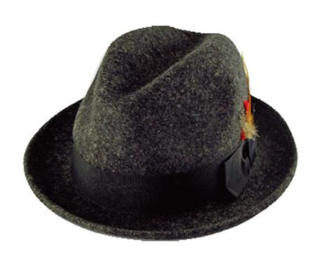 New Mens 100% Wool Fedora Trilby Mobster Hat Grey
