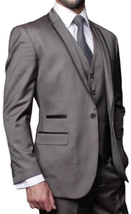 Mens 3 Piece Sharkskin Tuxedo with black satin lapel trim