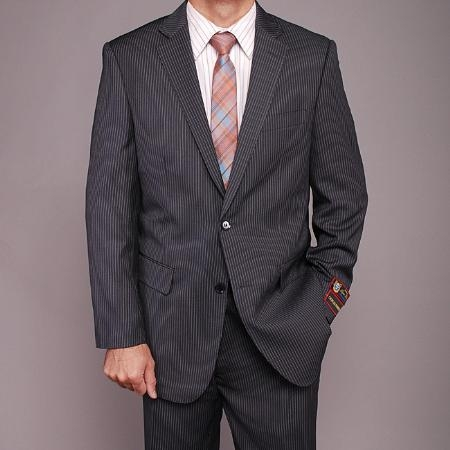 SKU#KL9556 Mens Charcoal Gray Pinstripe 2-button Suit