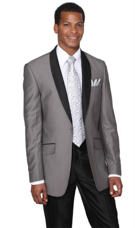 Men's Grey  Gray Shawl Collar Slim Fit
