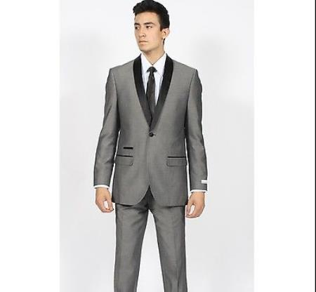 SKU#KA7004 Mens Grey ~ Gray Shawl Collar Slim Fit Tuxedo Suit Black Lapled Blazer Sportcoat Dinner Jacket Looking!