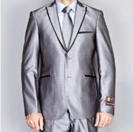 Mens Shiny Gray 2 Button Euro Slim Fit Suit Includes Matching Shirt and Tie
