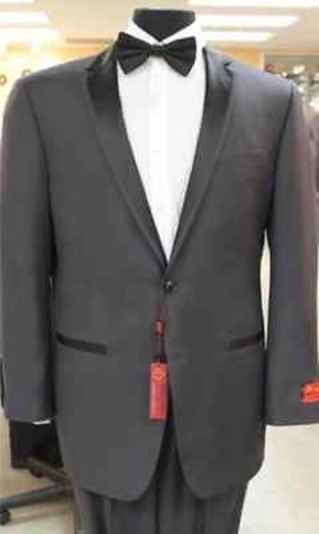 Grey~Gray 2 button notch collar or Formal Suit & Dinner Jacker or Blazer with Black Edge Trim Lapel Fashion Tuxedo For Men