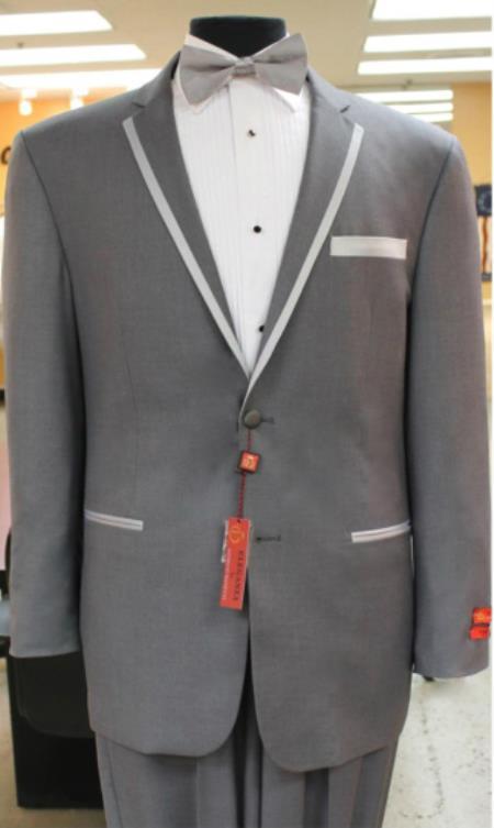 Tuxedo 2 button notch collar rayon/poly Eleganza Formal Modern fit Dinner Jacket/Blazer~Grey suit