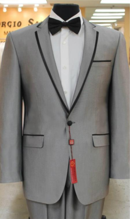 2 button Grey~Gray Tuxedo notch collar or Formal Suit & D