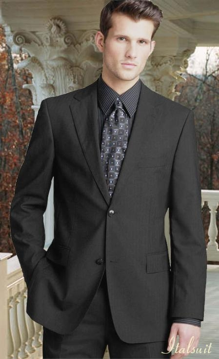 SKU#IW1992 Charcoal Gray 2 Button Wool 2pc Suit Super 150s with Hand Pick Stitching on Lapel
