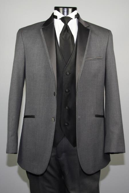 Two Button Charcoal Wool Tuxedo With Black Satin Notch Lapel Custom for Wedding or Prom