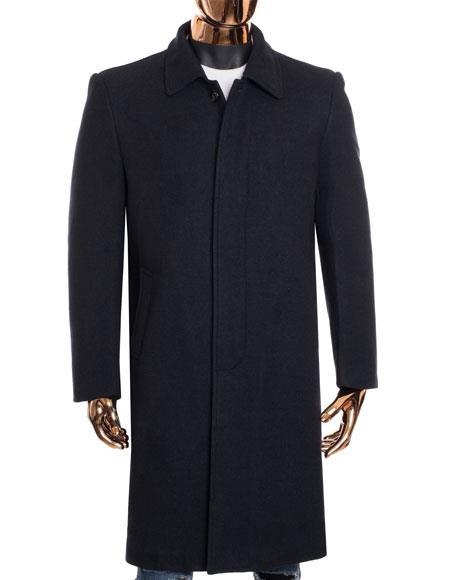 Mens Dress Coat Gray Zip Up Closure Knee Length Collared Wool Coat