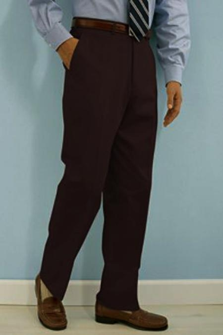 SKU#SQ233 PA-100 Brown premier quality italian fabric Flat Front Mens Wool Dress Pants Hand Made Relax Fit $69