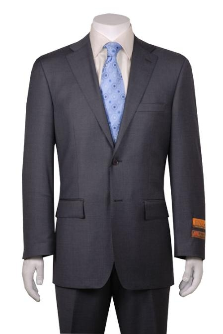 SKU#AW167 Gray 2 Button Vented without pleat flat front Pants $299