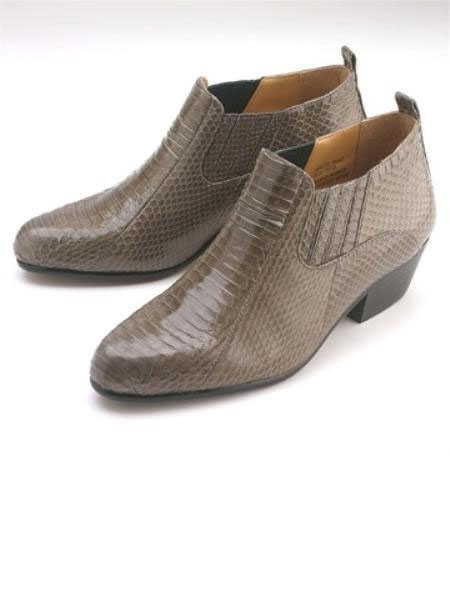 SKU#ML15064 Gray Pointy toe demi-boot in genuine snake skin with side gore. Durable man-made $139