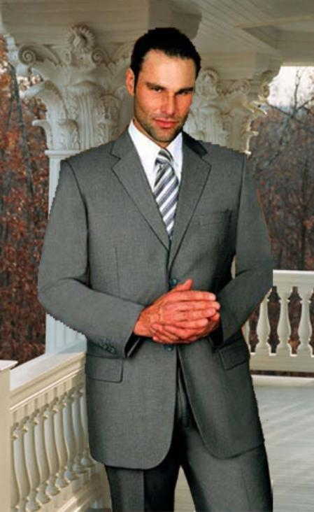 SKU#SN566 Gray Solid Suit Super 150s Hand Made With No Pleated Pants $169