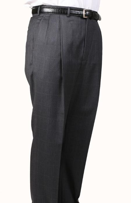 SKU#GW3602 Gray Windowpane, Parker, Pleated Pants Lined Trousers $99