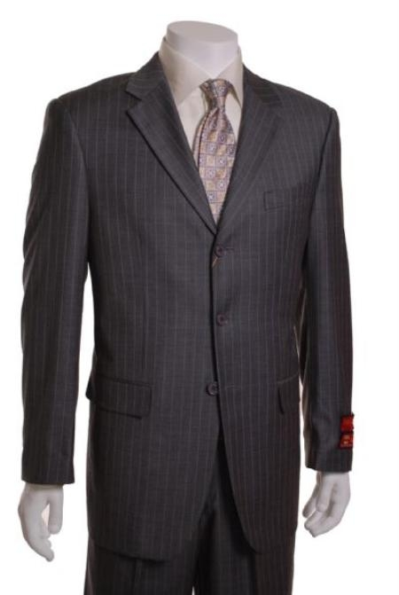 SKU#BJ511 Gray on Blue Stripe 3 Button Vented 1 Pleat Wool Suit 59616-1-3BV-1P $295