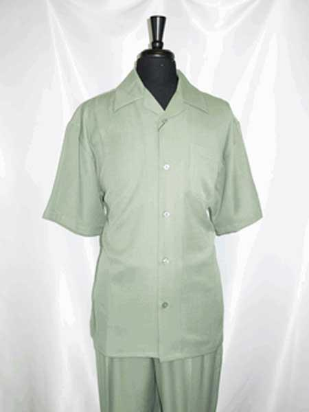 Short Sleeve  Green Lt Olive 5 Buttons Casual Two Piece Walking Outfit For Sale Pant Sets Shirt With Pant Set