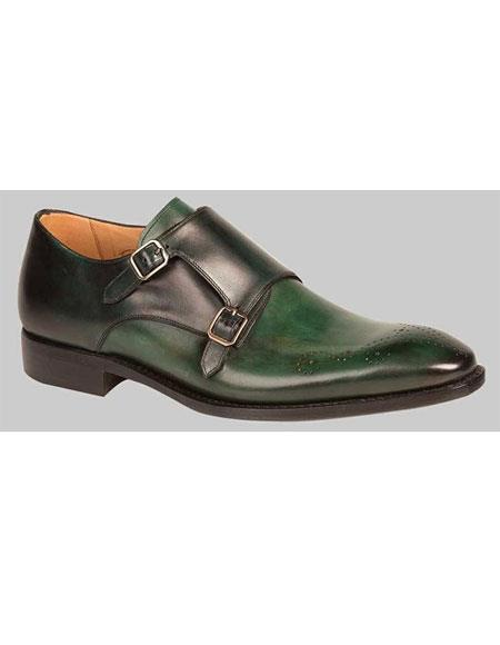 Two Tone Green/Black Double Monkstrap Leather Sole Dress Shoes