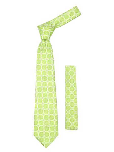 Lime Green Floral Design Trendy Necktie With Handkderchief Set