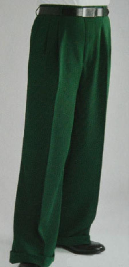 Green Wide Leg Dress Pants Pleated baggy dress trousers unhemmed unfinished bottom