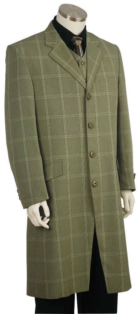 Mens Fashion Plaid ~ Windowpane Zoot Suit Green
