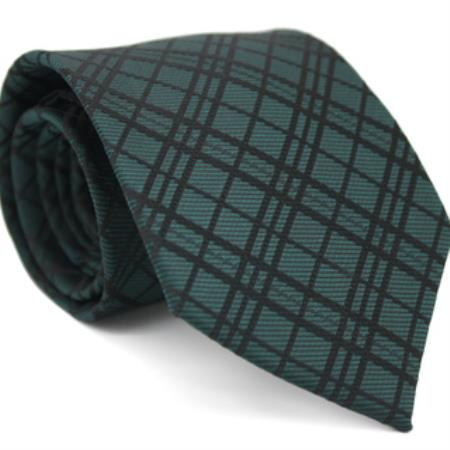 Slim Forest Green Gentlemans Necktie with Matching Handkerchief - Tie Set