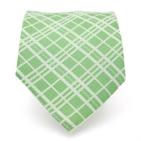 Slim Green Necktie with Matching Handkerchief