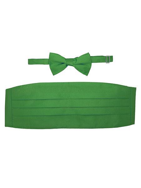 Ferrecci Mens Green Satine Microfiber Bowtie With Cummerbund Set