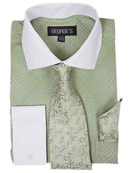 e6513d048e4 Apple Green Men s Mini Plaid Checks French Cuff Dress Shirt With Tie And  Handkerchief White Collar Two Toned Contrast