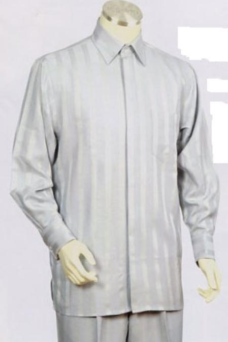 SKU#BW732 Mens Silver/lime mint Long Sleeve 2pc Set with French Cuff Shirt including Wide Leg Dress Pants Leisure Casual Suit For Sale