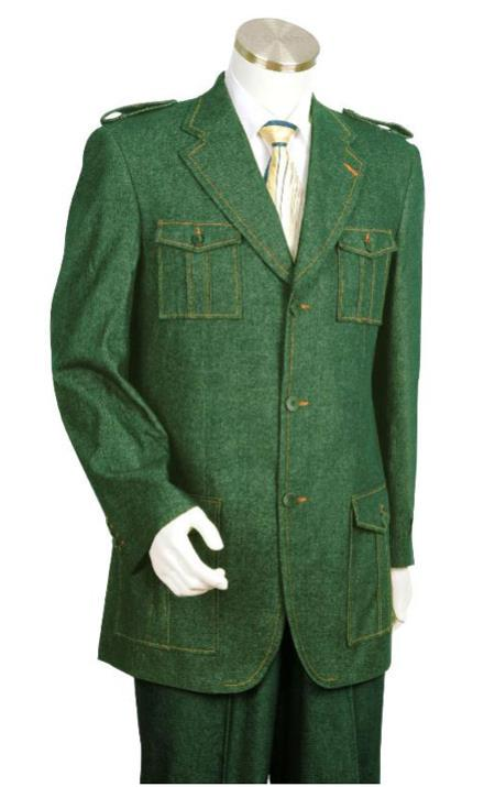 Canto Olive Green Military Style Jean Suit
