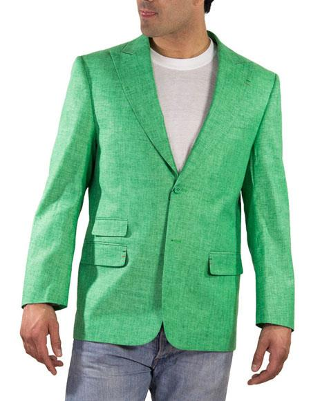 Alberto Nardoni Brand Men's One Ticket Pocket Green Thread & Stitch 100% Linen Blazer