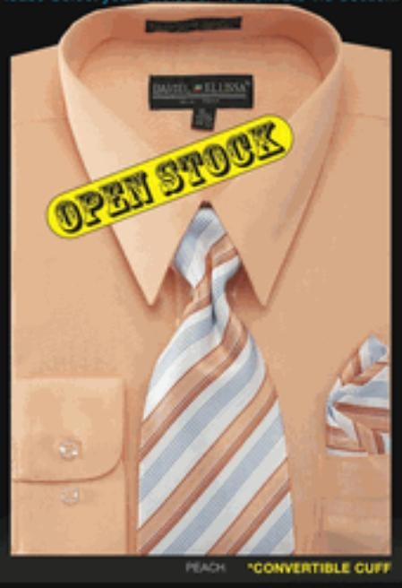 SKU#RH325 Mens Basic Shirt with Matching Tie and Hanky