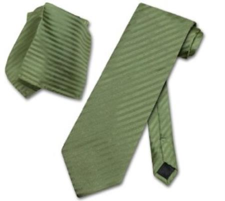 olive green striped necktie & handkerchief matching neck tie set