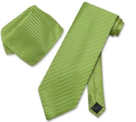 Spinach Green Necktie & Handkerchief Matching Tie Set
