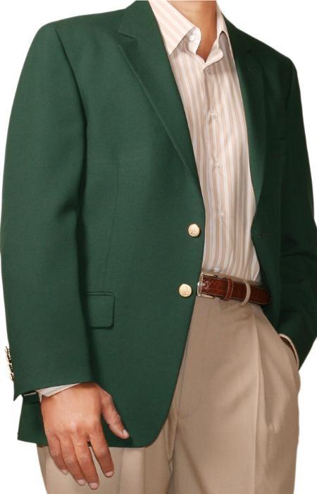 SKU#AG2947 Two Button Blazer Wool Blend Augusta Green (Men +Women)