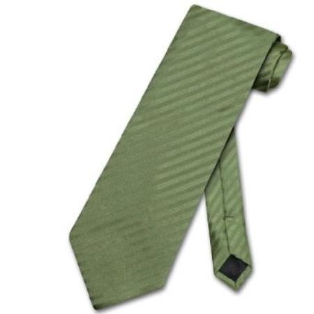 Olive Green Vertical Stripes Mens Neck Tie