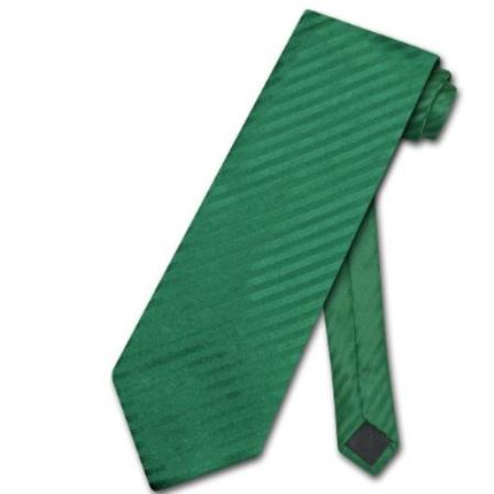 Emerald Green Vertical Stripes Mens Neck Tie